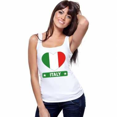 Italiaanse vlag in hartje singlet wit dames