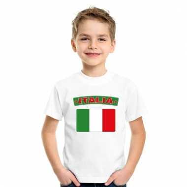 Italiaanse vlag kinder shirt wit