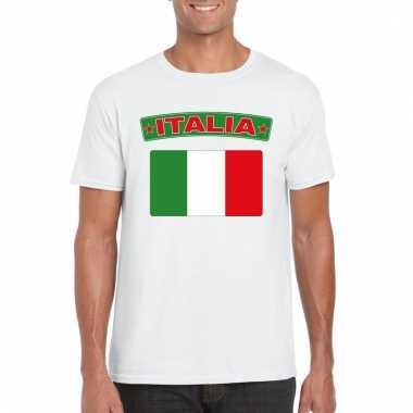 Italiaanse vlag shirt wit heren