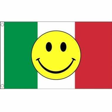 Italie vlag met smiley emoticon 90 x 150 cm