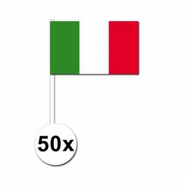 Italie zwaai vlaggetjes 50 stuks