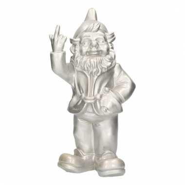 Kabouter beeldje zilver middelvinger 30 cm