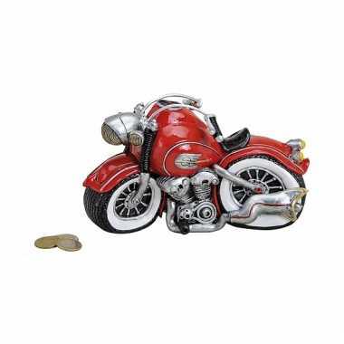 Kado spaarpot motor rood 21 cm