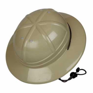 Kaki safari helm voor kinderen