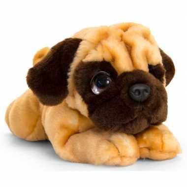 Keel toys pluche bruine mopshond honden knuffel 32 cm