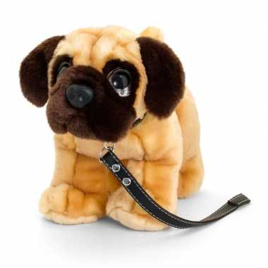 Keel toys pluche bruine mopshond met riem honden knuffel 30 cm