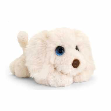 Keel toys pluche witte labradoodle honden knuffel 37 cm