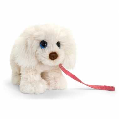 Keel toys pluche witte labrador met riem honden knuffel 30 cm