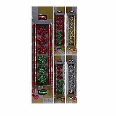 Kerst cadeau inpakken set 10-delig rood/groen