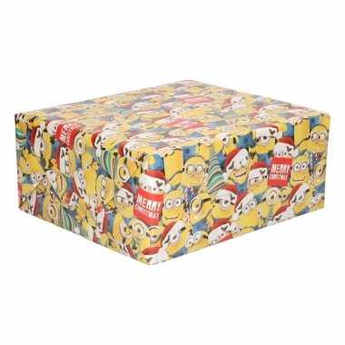 Kerst inpakpapier minions geel 200 x 70 cm op rol