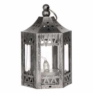 Kerst mat zilveren lantaarn met led theelichtje 10 cm