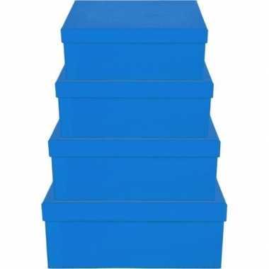 Kerstboom cadeautje blauw doosje 8 cm