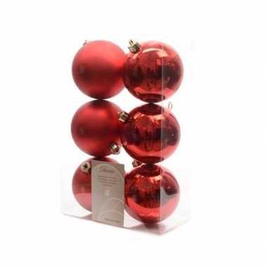 Kerstboom decoratie kerstballen mix rood 12 stuks