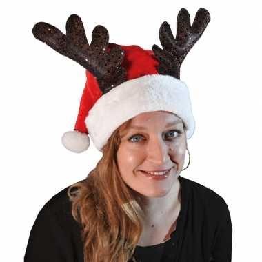 Kerstmuts met rendier gewei voor volwassenen