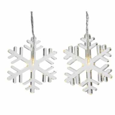 Kerstverlichting sneeuwvlok slinger warm wit 105 cm