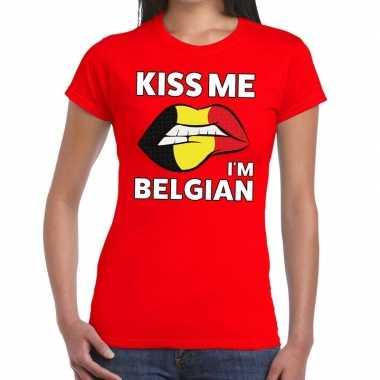 Kiss me i am belgian t-shirt rood dames
