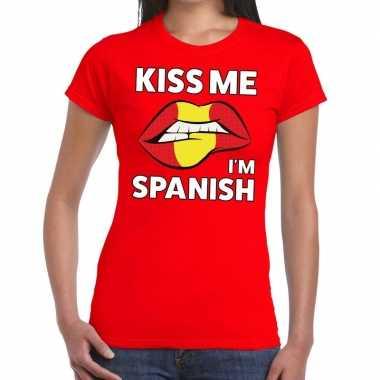 Kiss me i am spanish t-shirt rood dames