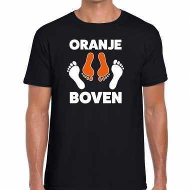 Koningsdag zwart t-shirt oranje boven voor heren