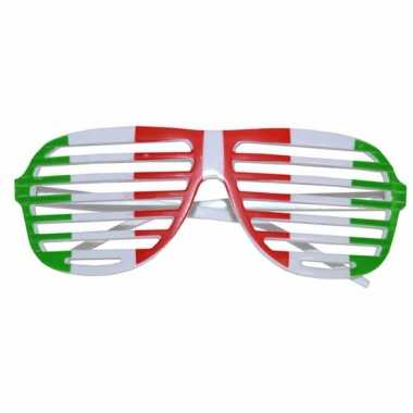 Lamellen bril groen wit rood