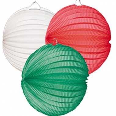 Lampion setje groen wit en rood