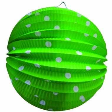 Lampionnen in groen met witte stippen 23 cm