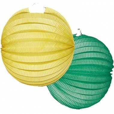 Lampionnen setje geel/groen