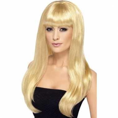 Lange blonde dames pruik met pony