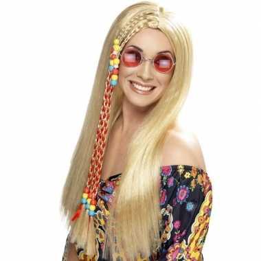 Lange blonde hippie pruik voor dames