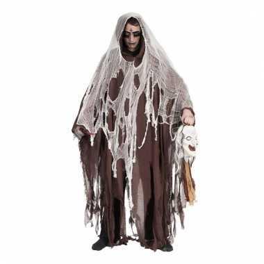 Lange bruine halloween verkleed mantel
