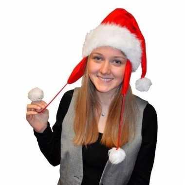Lange kerstmuts met oorflappen voor volwassenen