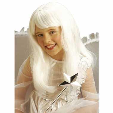 Lange meisjes pruik wit