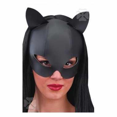 Leder look katjes masker