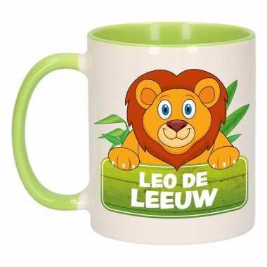 Leeuwen ontbijtbeker groen / wit voor kinderen 300 ml