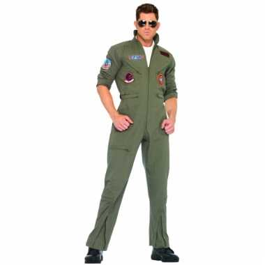 Legergroene piloten overall in grote maat