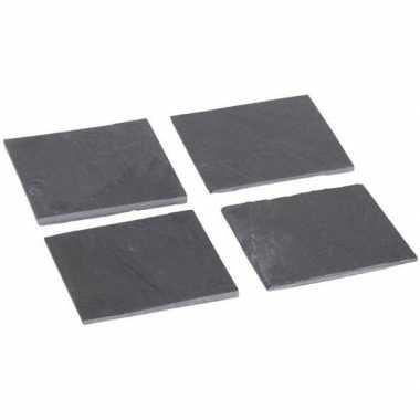Leisteen glasonderzetters 8 stuks 10 cm