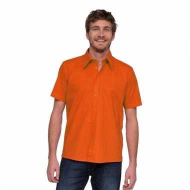 Lemon&soda overhemd met korte mouw oranje