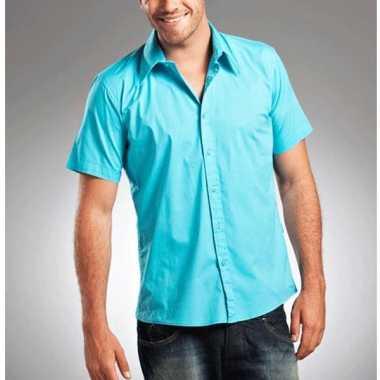 Lemon&soda overhemd met korte mouw turquoise