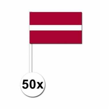 Letland zwaai vlaggetjes 50 stuks