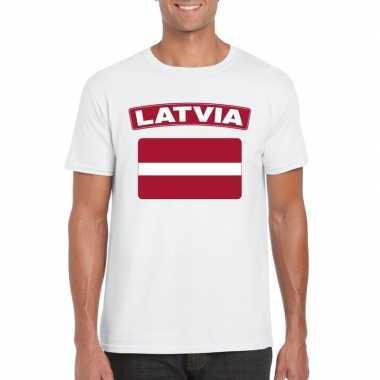Letlandse vlag shirt wit heren
