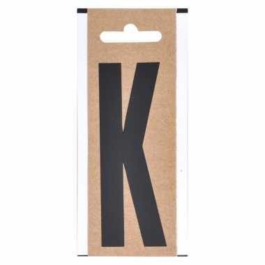 Letter sticker k zwart 10 cm