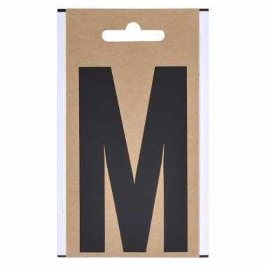 Letter sticker m zwart 10 cm