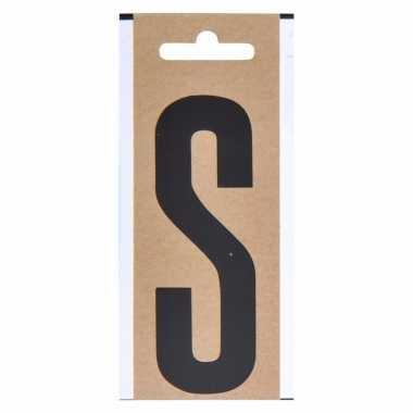 Letter sticker s zwart 10 cm
