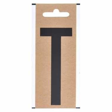 Letter sticker t zwart 10 cm