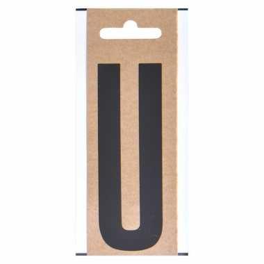 Letter sticker u zwart 10 cm