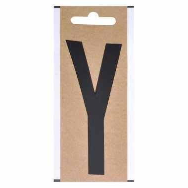 Letter sticker y zwart 10 cm
