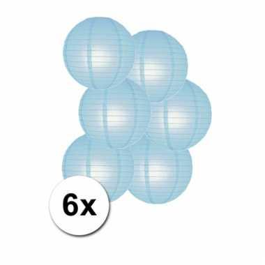 Licht blauwe feestversiering lampionnen 6 stuks