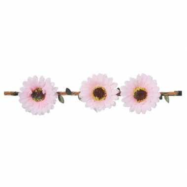 Licht roze madeliefjes festival/hippie haarband voor dames