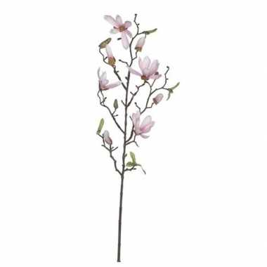 Licht roze magnolia/beverboom kunsttak kunstplant 80 cm