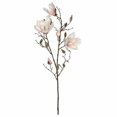 Licht roze magnolia/beverboom kunsttak kunstplant 90 cm