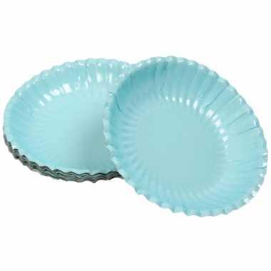 Lichtblauwe chips schaaltjes 16 cm